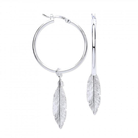 Silver Feather Hoop Earrings