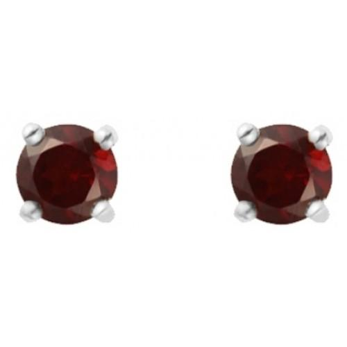 Silver Stud Earrings with Garnet