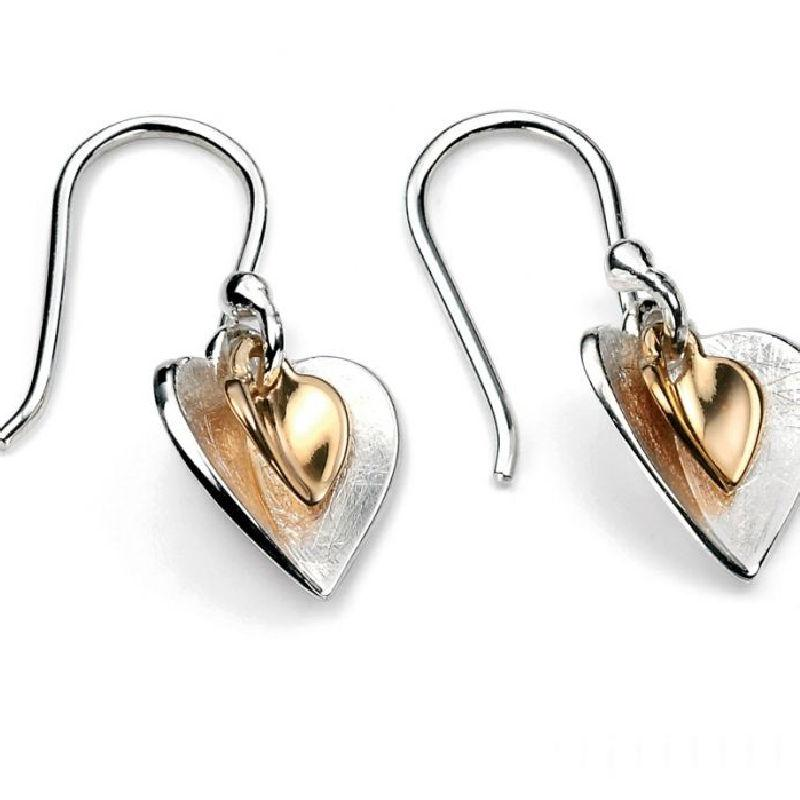 Silver and Gold Double Heart Drop Earrings Jewellery Gecko
