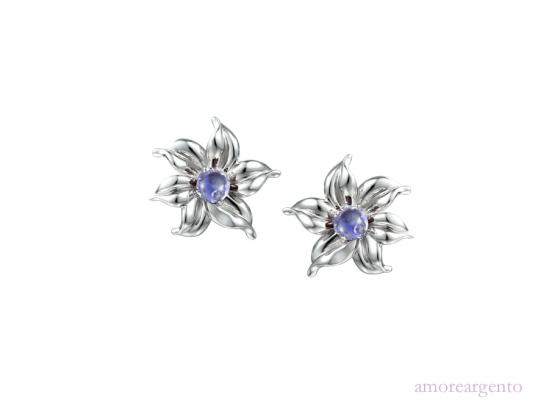 Silver 'Gwyneth' Iolite Flower Stud Earrings