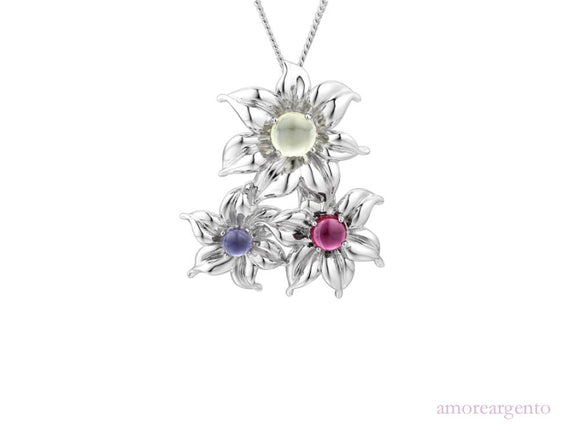 Silver 'Gwyneth' Necklace with Gemstone Flowers
