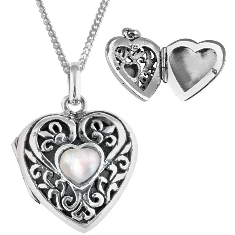 Silver Filigree Heart Locket with Mother of Pearl Jewellery Ari D Norman