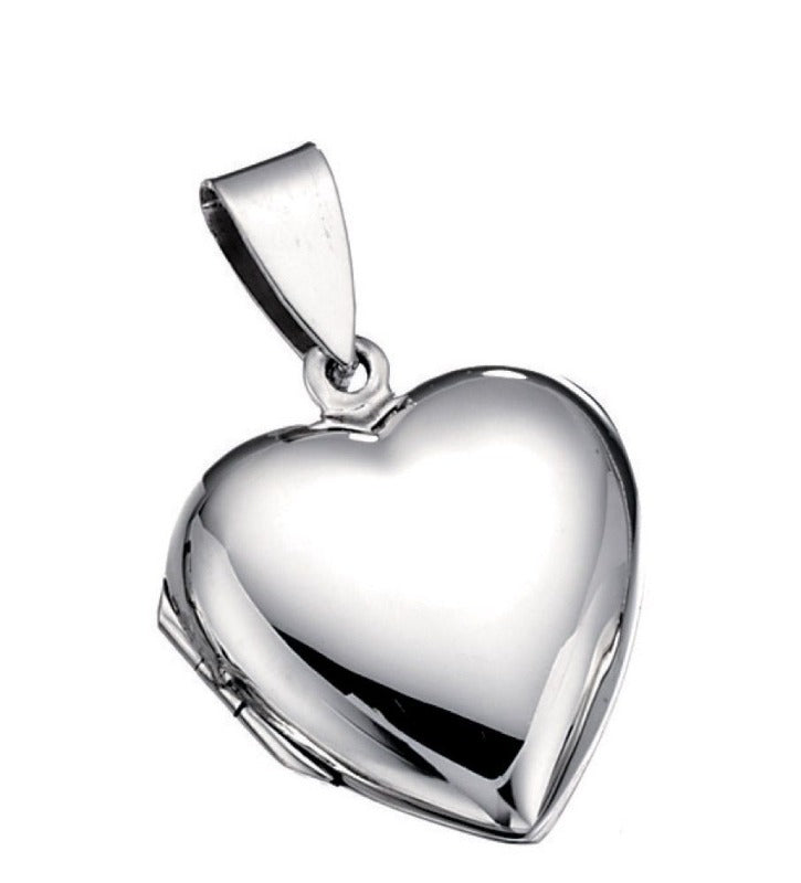 Silver Plain Heart Locket Jewellery Gecko