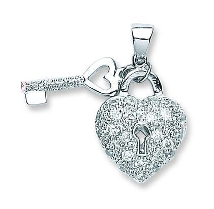 Silver Heart and Key Pendant with Cubic Zirconia