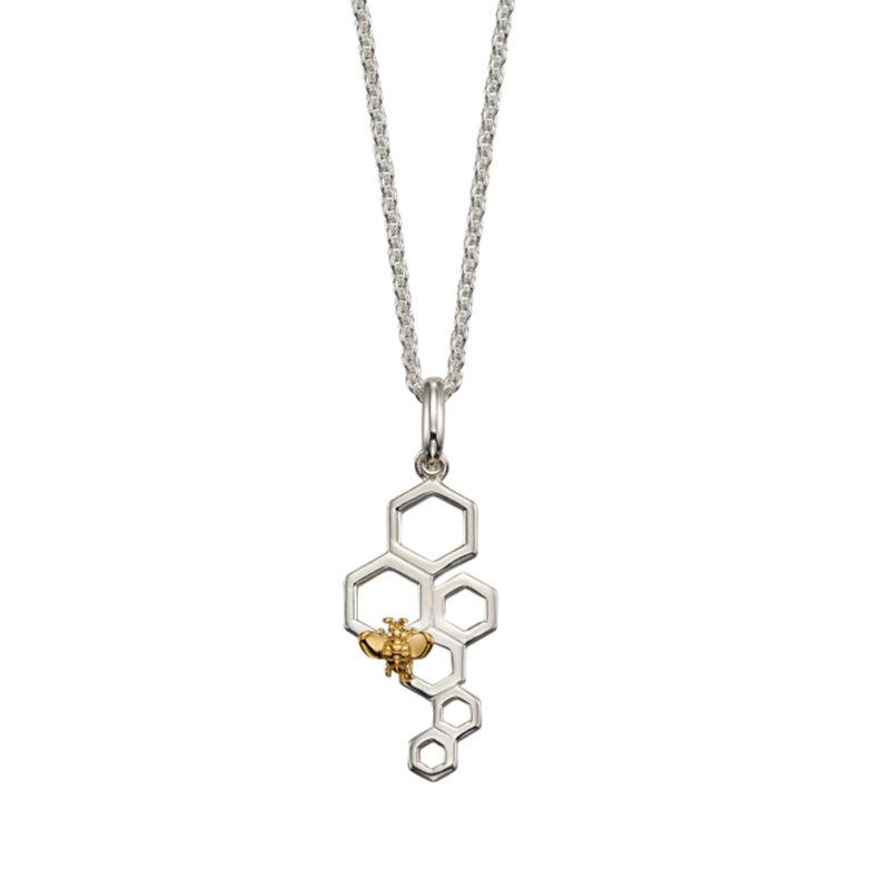silver honeycomb pendant in an openwork design with gold-plated bee