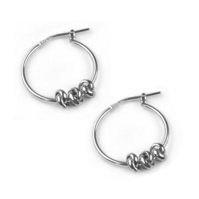 Silver Hoop earrings with three silver knots threaded through the hoop