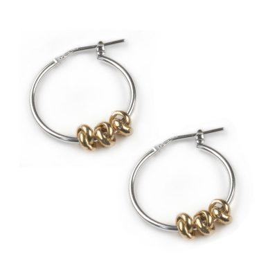 Silver Hoop earrings with three rose gold, movable, knots
