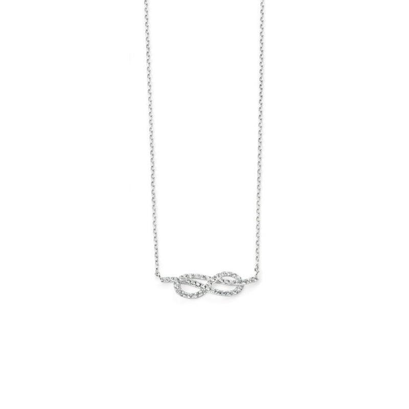 Silver Infinity Necklace with Cubic Zirconias Jewellery Gecko