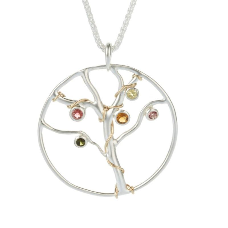 Silver Jewelled Tree of Life Pendant Jewellery Banyan