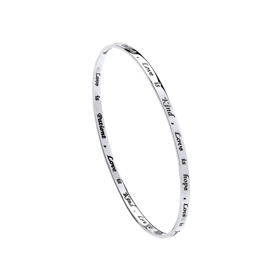 Silver bangle for ladies with messages of love inscribed around the outside