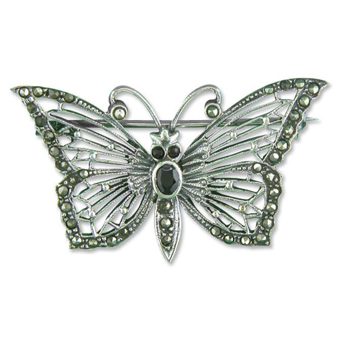 Silver Marcasite Butterfly Brooch with Synthetic Garnet Jewellery Carathea