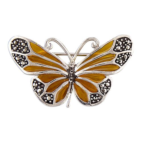 Silver Butterfly Brooch with Marcasite Jewellery CME
