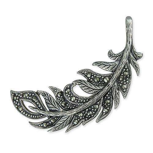 Silver Marcasite Feather Brooch