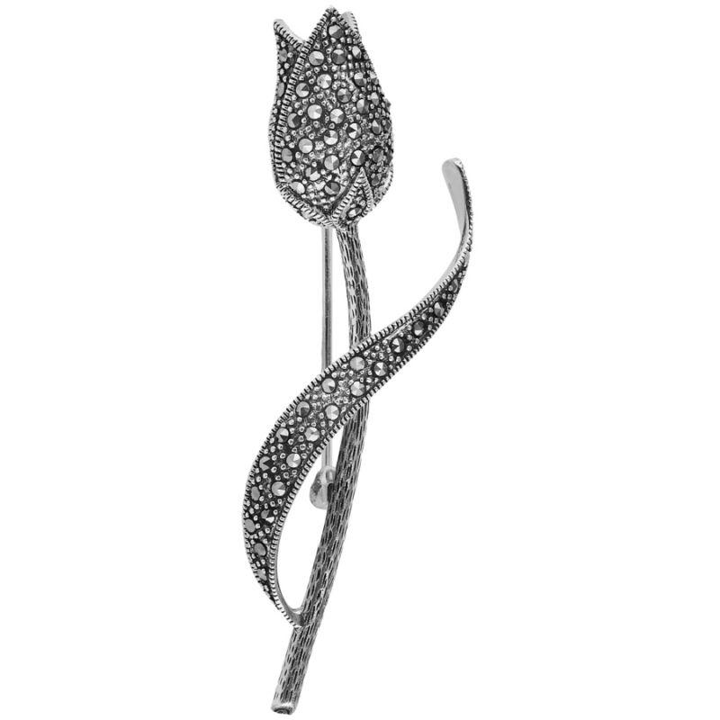Silver Marcasite Rose Brooch Jewellery Ari D Norman