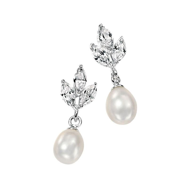 Silver Drop Earrings with Marquise CZ and Freshwater Pearls Jewellery Carathea