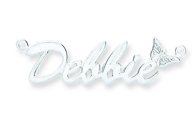 Silver Name Script Necklace with Butterfly