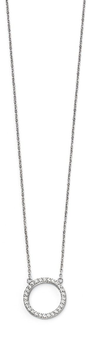 Silver Necklace with CZ Pave Set Open Circle