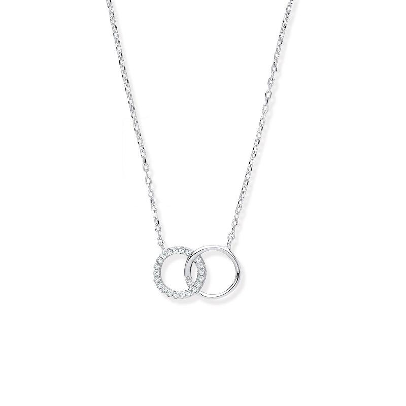 Silver Necklace with Interlocking Circles Jewellery Hanron