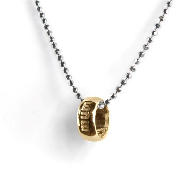 "Silver Necklace with Gold ""Mum"" Ring"