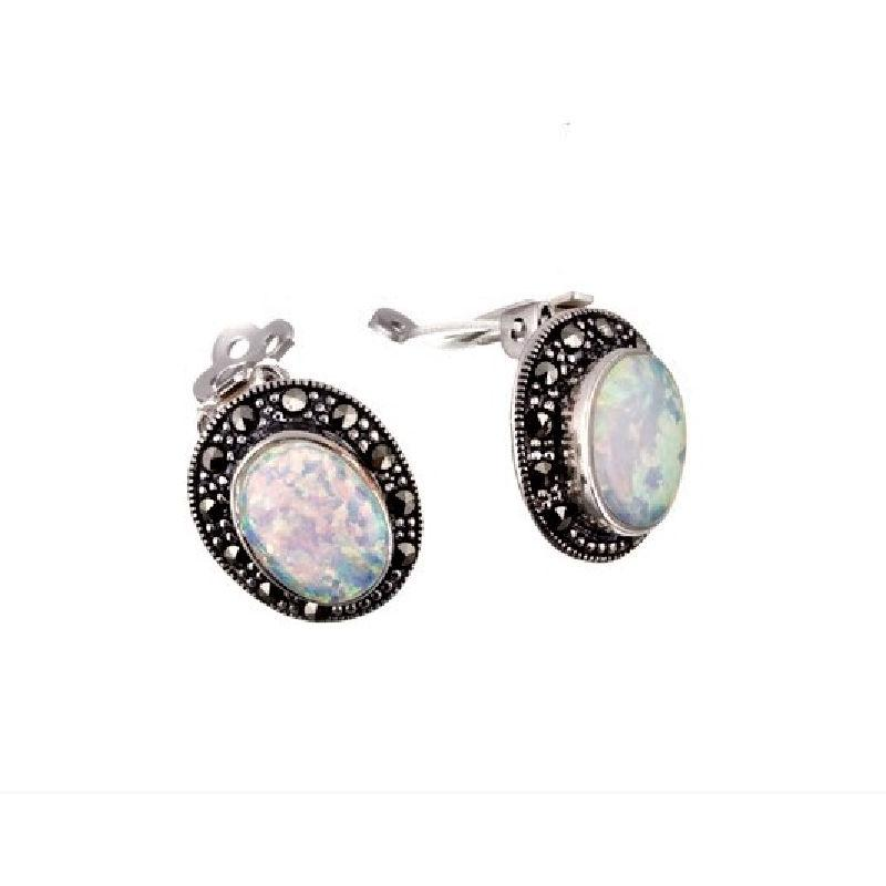 silver clip-on earrings with oval opal and marcasite surround