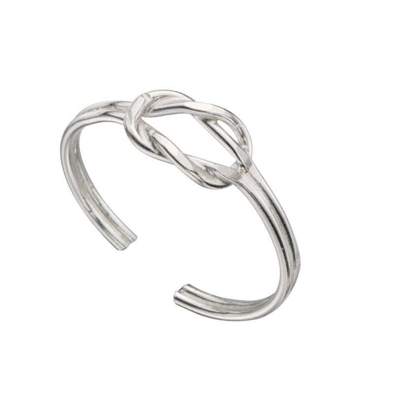 silver toe ring in a design of an open knot