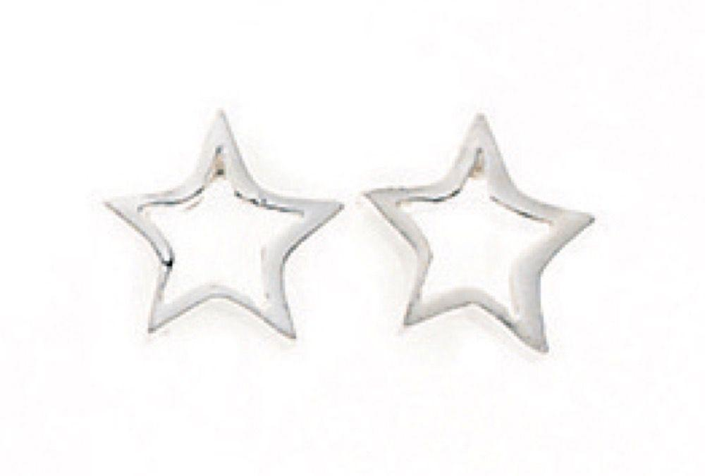 Silver Tiny Open Star Stud Earring