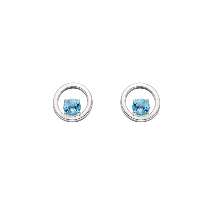 silver Open circle earrings with Swiss Blue Topaz