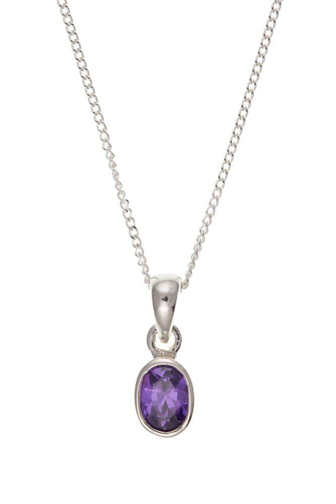 Silver Oval Amethyst Pendant with Chain