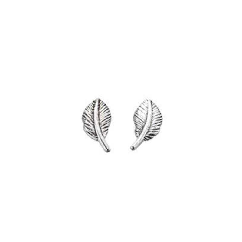 Silver Feather Stud Earrings Earrings Gecko