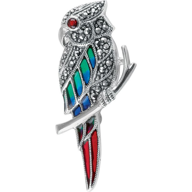 Marcasite Parrot Brooch with Garnets Jewellery Ari D Norman