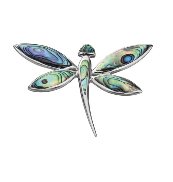 Silver and Paua Shell Dragonfly Pendant