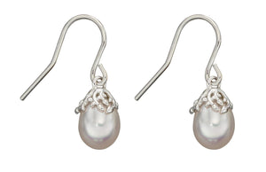 Silver Pearl Baroque Drop Earrings