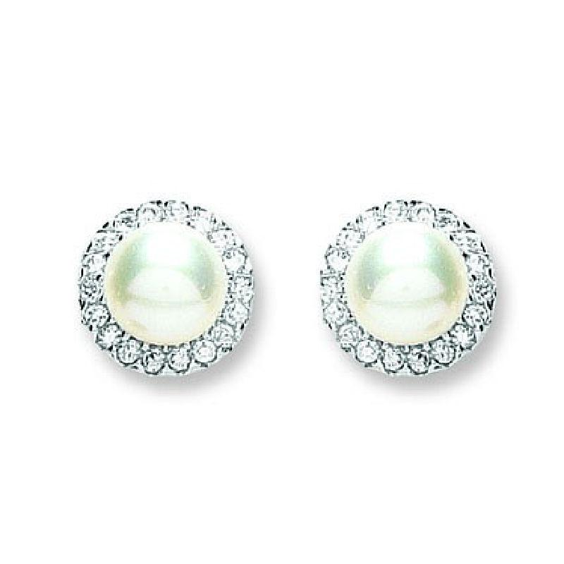 Silver Round Pearl and CZ Stud Earrings Jewellery Hanron