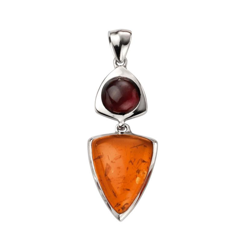 Silver Pendant with Amber and Garnet Jewellery Gecko