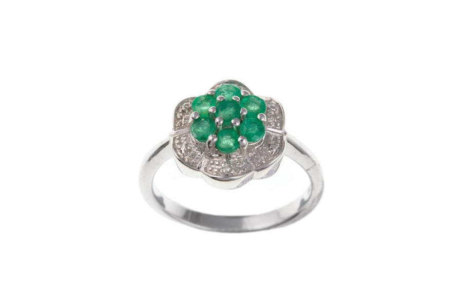Silver Real Emerald and Diamond Cluster Ring