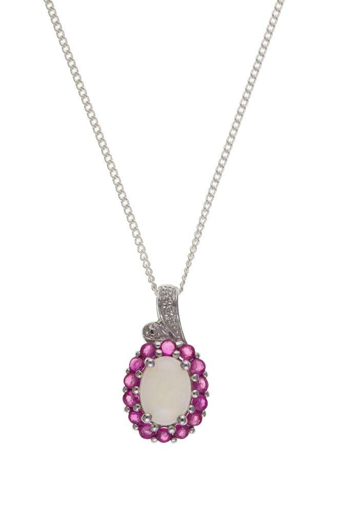 Silver Pendant with Real Opal, Rubies and Diamonds