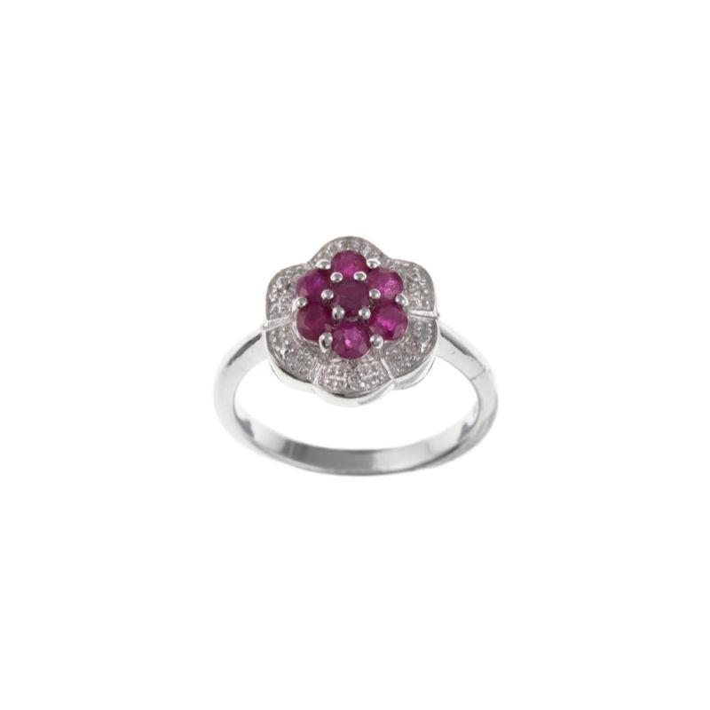 Silver cluster ring with real ruby and diamonds