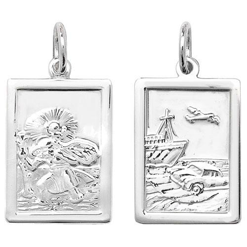 Silver Rectangular St Christopher Pendant Jewellery Treasure House Limited