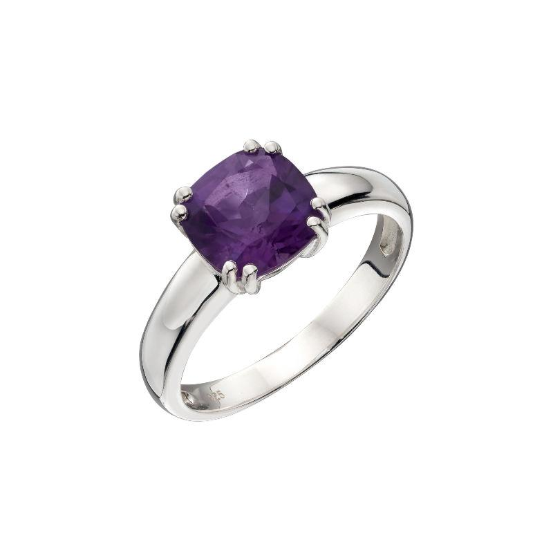 silver amethyst ring in a cushion cut design