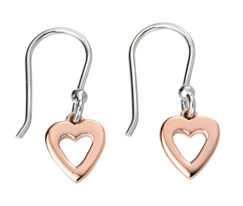 Rose Gold Cut Out Heart Drop Earrings Jewellery Gecko