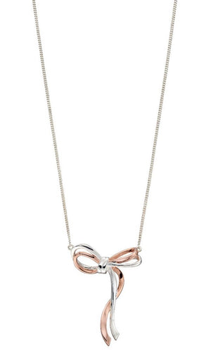 Necklace with a bow ribbon in silver and rose gold