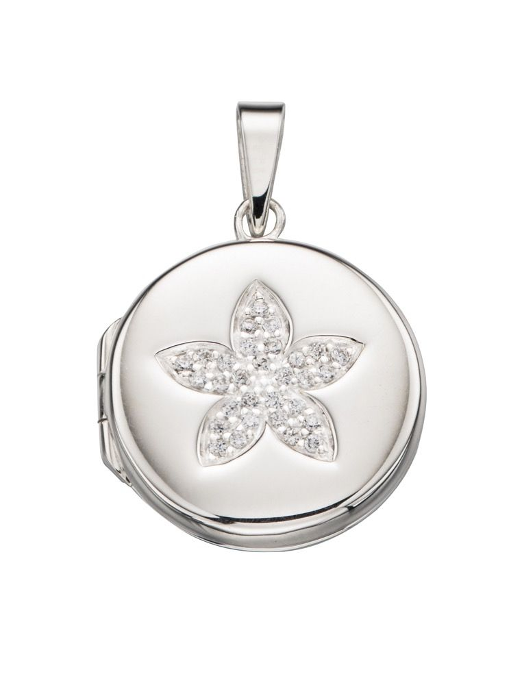 Silver Circular Locket with Pave Flower Necklaces & Pendants Gecko