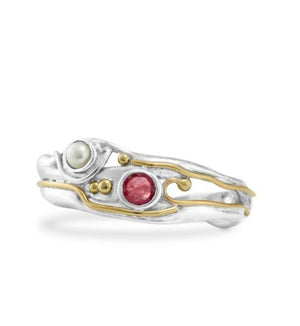Silver Ring with Ruby and Pearl