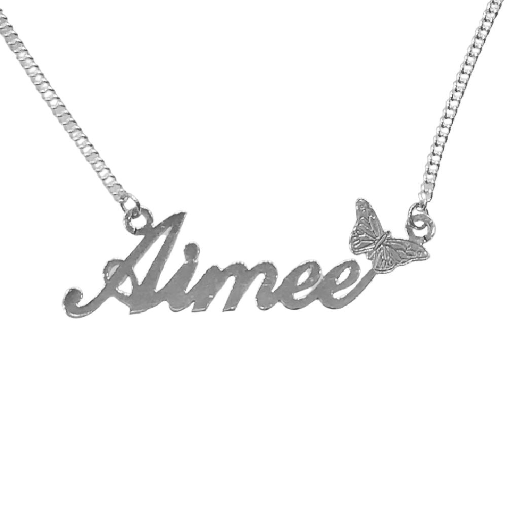 Silver Script Butterfly Name Necklace Jewellery Hanron