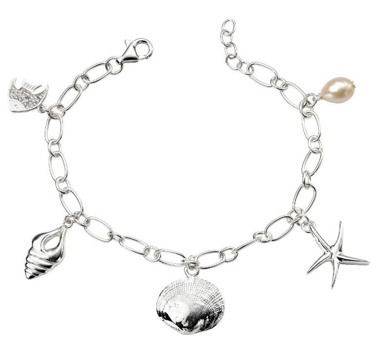 Silver Sealife Charm Bracelet with Pearl