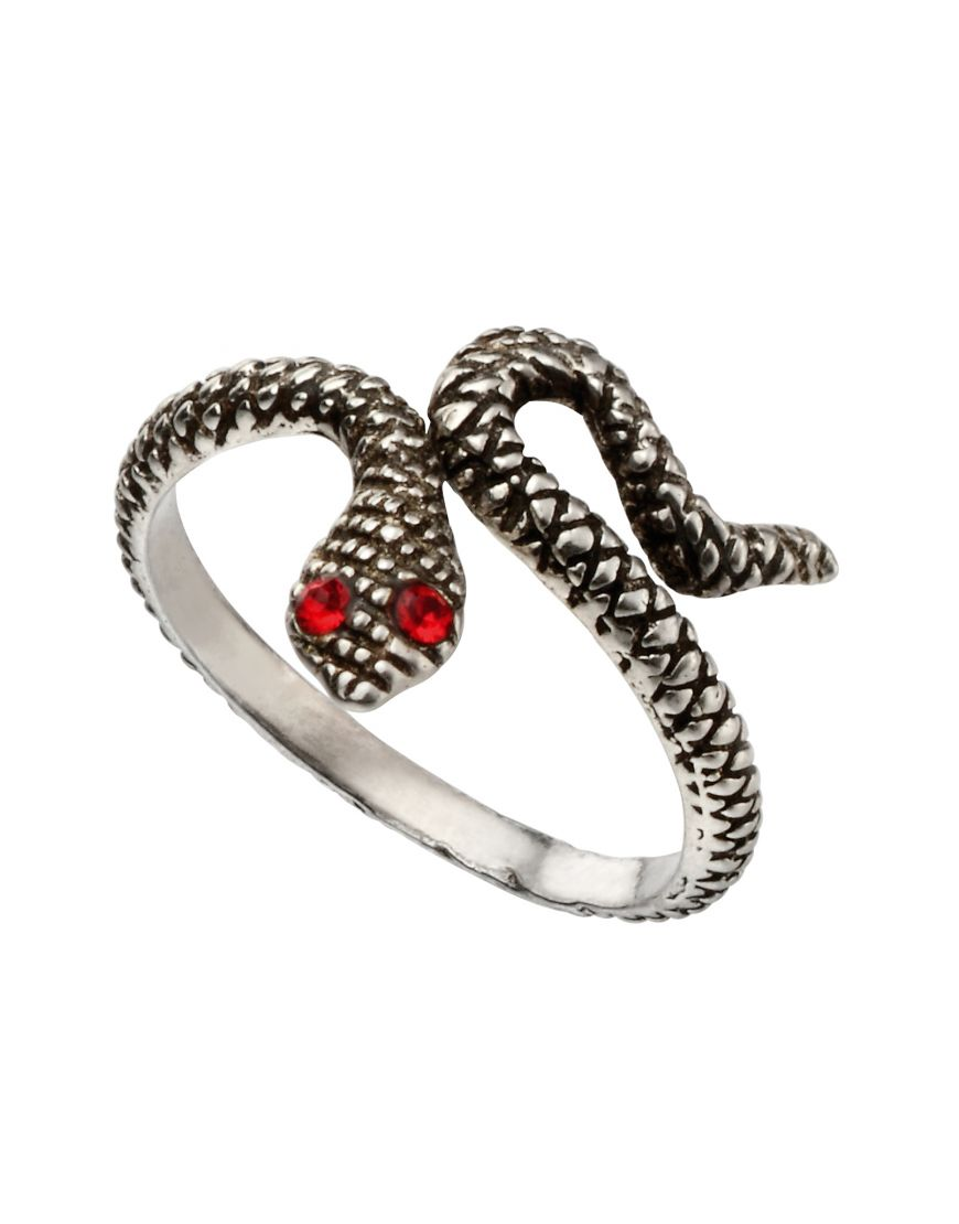 Silver snake toe ring with red crystal eyes