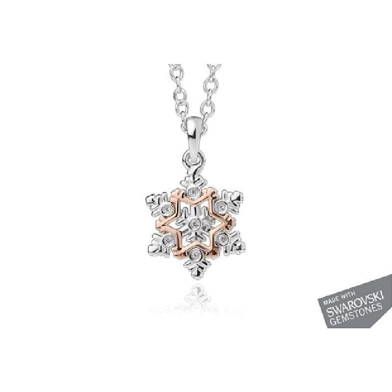 Silver Snowflake necklace with white topaz and rare Welsh Gold