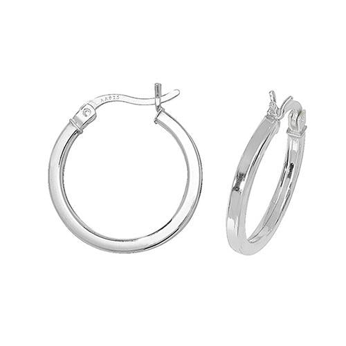 Silver medium-sized hoop earrings with square edges