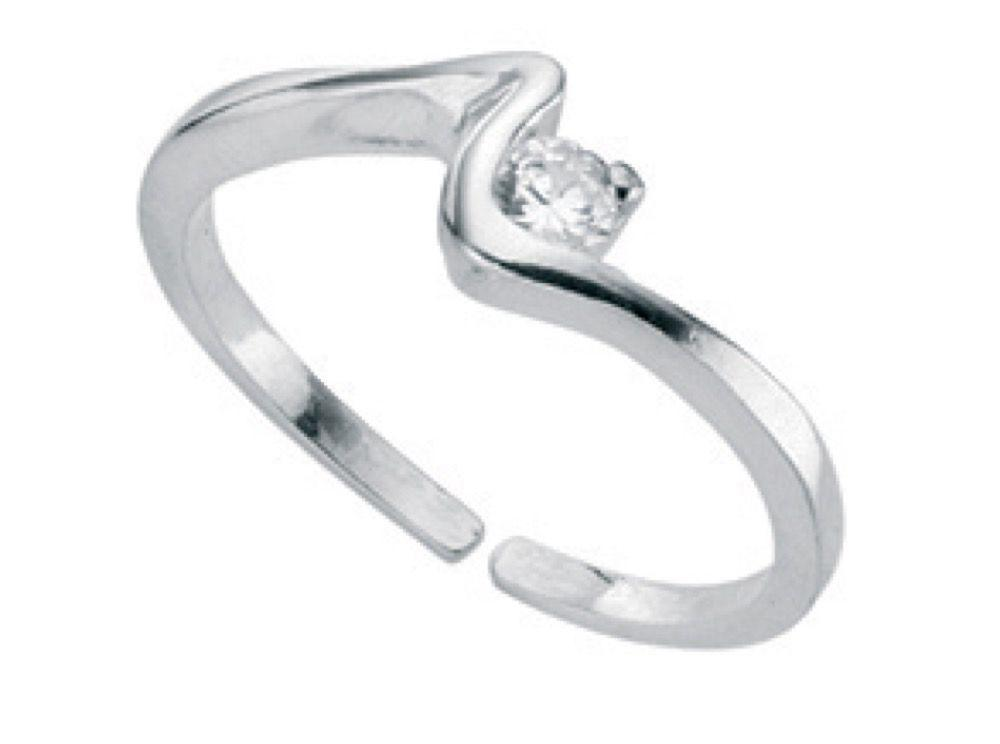 Silver toe ring in a squiggle pattern with cz