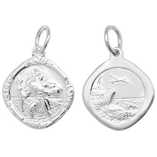 Silver St Christopher Diamond Shaped Pendant